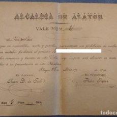 Billetes locales: RARO VALE MUNICIPAL PARA POBRES, DEL AYUNTAMIENTO DE ALAIOR (MENORCA) (1898). Lote 192653533