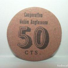 Billetes locales: FICHA DINERARIA CARTON...COOPERATIVA LA .UNION ANGLESENSE..50 CTS.. Lote 192980160