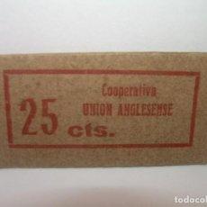 Billetes locales: FICHA DINERARIA CARTON...COOPERATIVA LA .UNION ANGLESENSE..25 CTS.. Lote 192980205