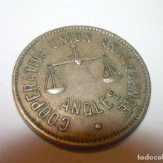 Billetes locales: FICHA DINERARIA COOPERATIVA UNION ANGLESENSE..ANGLES...5 PESETAS.. Lote 192986287