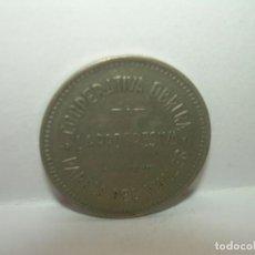 Billetes locales: FICHA DINERARIA COOPERATIVA OBRERA LA PROGRESIVA....PARETS DEL VALLES..1937...1 PESETA.. Lote 192987070