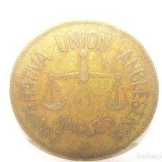 Billetes locales: FICHA DINERARIA COOPERATIVA UNION ANGLESENSE...25 PESETAS.. Lote 193230823