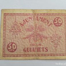 Billetes locales: 1633 BILLETE AYUNTAMIENTO 50 CÉNTIMOS GUIAMETS T-1387 R. Lote 193409893