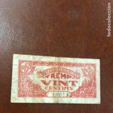 Billetes locales: BILLETE DE CONSELL COMARCAK DE TREMP DE 1937 DE 20 CÉNTIMOS. Lote 194188490
