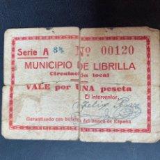 Billetes locales: MUNICIPIO DE LIBRILLA ZARAGOZA 1 PESETA. Lote 194194547