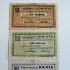 Billetes locales: ORISTÁ. BARCELONA. LOTE 3 BILLETES VALORES, 25, 50 CENTIMS Y 1 PESSETA. GUERRA CIVIL. Lote 194209925