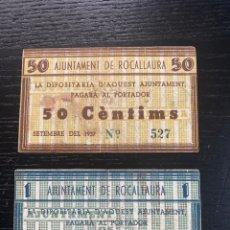 Billetes locales: AJUNTAMENT DE ROCALLAURA 1 PESSETA 50 CTS. Lote 194215202