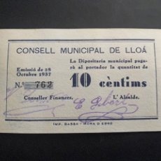 Billetes locales: CONSELL MUNICIPAL DE LLOÀ 10 CENTIMS. Lote 194216076