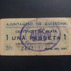 Billetes locales: AJUNTAMENT DE GUISSONA 1 PESSETA LERIDA. Lote 194216725