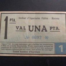 Billetes locales: SINDICAT D'ESPECTACLES PUBLICS MANRESA. Lote 194217070