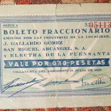 Billetes locales: BILLETE VALE POR 0,10 PESETAS EMITIDO POR LA INDUSTRIA DE VILLANUEVA DEL ARZOBISPO 15 JULIO 1937 . Lote 194324583