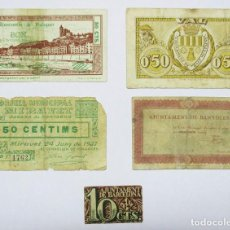 Billetes locales: 5 BILLETES LOCALES O DE PUEBLO DE LA GUERRA CIVIL ESPAÑOLA, TODOS DE CATALUÑA. LOTE 1365. Lote 194617646