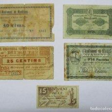 Billetes locales: 5 BILLETES LOCALES O DE PUEBLO DE LA GUERRA CIVIL ESPAÑOLA, TODOS DE CATALUÑA. LOTE 1366. Lote 194619665