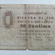 Billetes locales: BISAURA DE TER. GIRONA. 50 CENTIMS. Lote 194650381