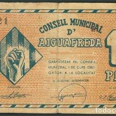 Billetes locales: AIGUAFREDA BARCELONA 1 PESETA. (1938CA) BILLETE GUERRA CIVIL. Lote 194729826