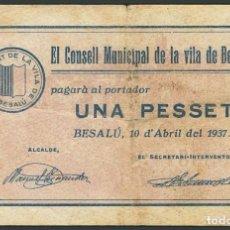 Billetes locales: BESALU GERONA 1 PESETA. 10 DE ABRIL DE 1937 SERIE A BILLETE GUERRA CIVIL. Lote 194729872
