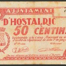 Billetes locales: HOSTALRIC 50 CÉNTIMOS JUNIO 1937 GERONA BILLETE GUERRA CIVIL. Lote 194729897