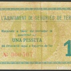 Billetes locales: SEGURIES DE TER 1 PESETA MAYO 1937 GERONA BILLETE GUERRA CIVIL. Lote 194729923