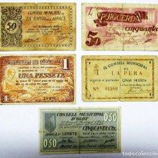 Billetes locales: 5 BILLETES LOCALES O DE PUEBLO DE LA GUERRA CIVIL ESPAÑOLA, TODOS DE CATALUÑA. LOTE 1368. Lote 195083498