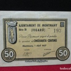 Billetes locales: 50 CENTIMS AJUNTAMENT MONTMANY FIGARO 1937. Lote 195124316