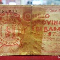Billetes locales: ESPAÑA BILLETE LOCAL BADAJOZ 1 PESETA 1937 BC- G. Lote 195140787