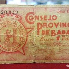 Billetes locales: ESPAÑA BILLETE LOCAL BADAJOZ 1 PESETA 1937 BC F. Lote 195141037
