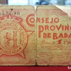 Billetes locales: ESPAÑA BILLETE LOCAL BADAJOZ 1 PESETA 1937 BC- G. Lote 195141110