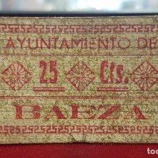 Billetes locales: ESPAÑA BILLETE LOCAL BAEZA JAÉN 25 CÉNTIMOS 1936-1937 BC F. Lote 195141823