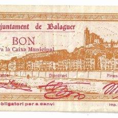 Billets locaux: BALAGUER - 1 PESSETA / PESETA. Lote 195316751