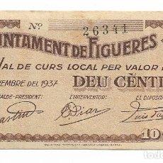 Billets locaux: FIGUERES - 10 CENTIMS / CENTIMOS - 1937. Lote 195330393