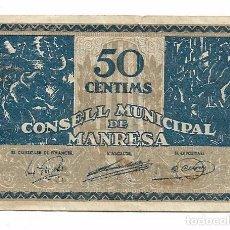 Billets locaux: MANRESA - 50 CENTIMS / CENTIMOS . Lote 195336687
