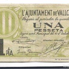 Billetes locales: VALLCEBRE - 1 PESSETA / PESETA - 1937. Lote 195343587
