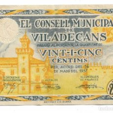 Billetes locales: VILADECANS - 25 CENTIMS / CENTIMOS - 1937. Lote 195343681