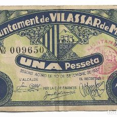 Billetes locales: VILASSAR DE MAR - 1 PESSETA / PESETA - 1937. Lote 195343765