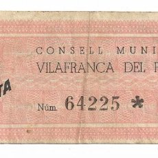 Billetes locales: VILAFRANCA DEL PENEDÈS - 1 PESSETA / PESETA - 1937. Lote 195343798