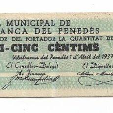 Billetes locales: VILAFRANCA DEL PENEDÈS - 25 CENTIMS / CENTIMOS - 1937. Lote 195343866
