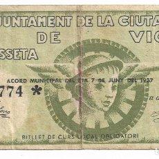 Billetes locales: VIC - 1 PESSETA / PESETA - 1937. Lote 195343896