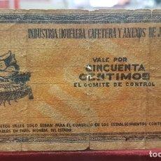 Billetes locales: ESPAÑA BILLETE LOCAL JAÉN 50 CÉNTIMOS 1937 BC- G. Lote 195384382