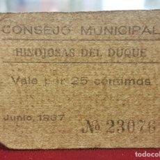 Billetes locales: ESPAÑA BILLETE LOCAL HINOJOSAS DEL DUQUE CÓRDOBA 25 CÉNTIMOS 1937 BC F. Lote 195399058