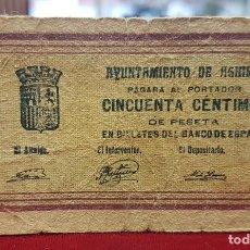 Billetes locales: ESPAÑA BILLETE LOCAL AGUILAS MURCIA 50 CÉNTIMOS 1937 BC F. Lote 195401112