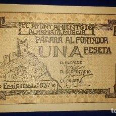 Billetes locales: BILLETES LOCALES 1937..AYUNTAMIENTO DE ALHAMA, (MURCIA). Lote 195469902
