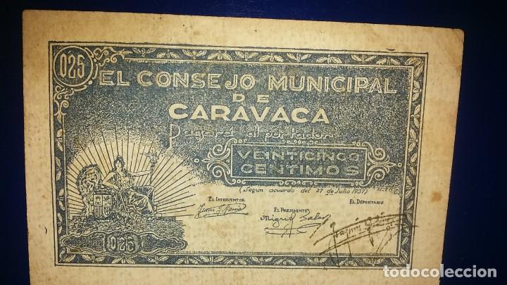 CONSEJO MUNICIPAL DE CARAVACA. (Numismática - Notafilia - Billetes Locales)