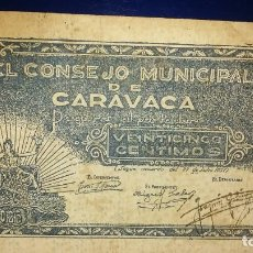 Billetes locales: CONSEJO MUNICIPAL DE CARAVACA.. Lote 195475643