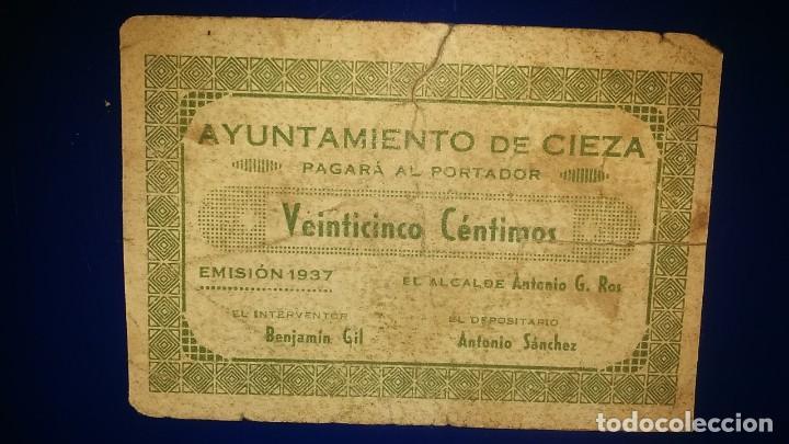 AYUNTAMIENTO DE CIEZA. (MURCIA) EMISION 1937 (Numismática - Notafilia - Billetes Locales)