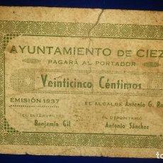 Billetes locales: AYUNTAMIENTO DE CIEZA. (MURCIA) EMISION 1937. Lote 195478025