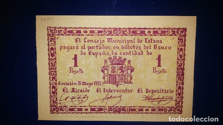 CONSEJO MUNICIPAL DE TOTANA. (MURCIA) 1 PESETA EMISION 15 MAYO 1937 (Numismática - Notafilia - Billetes Locales)