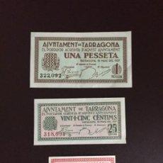 Billetes locales: TRES BILLETES AJUNTAMENT DE TARRAGONA: UNA PESSETA, VINTI-CINC CENTIMS Y DEU CENTIMS. SIN CIRCULAR. Lote 195873138