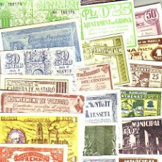 Billetes locales: LOTE DE 22 BILLETES LOCALES FASCIMIL DE 1937. TODOS DIFERENTES. Lote 226792005