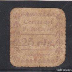 Billetes locales: BUJALANCE (CÓRDOBA). 25 CTS LILA COMITÉ DEL FRENTE POPULAR.. Lote 196636607