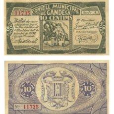 Billetes locales: 10 CÈNTIMS 1937 GANDESA CENTIMOS, ORIGINAL. Lote 196817911